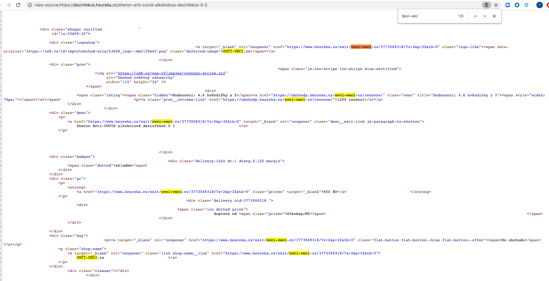 Source code of the page on heureka[.]cz containing malicious links, which are highlighted.