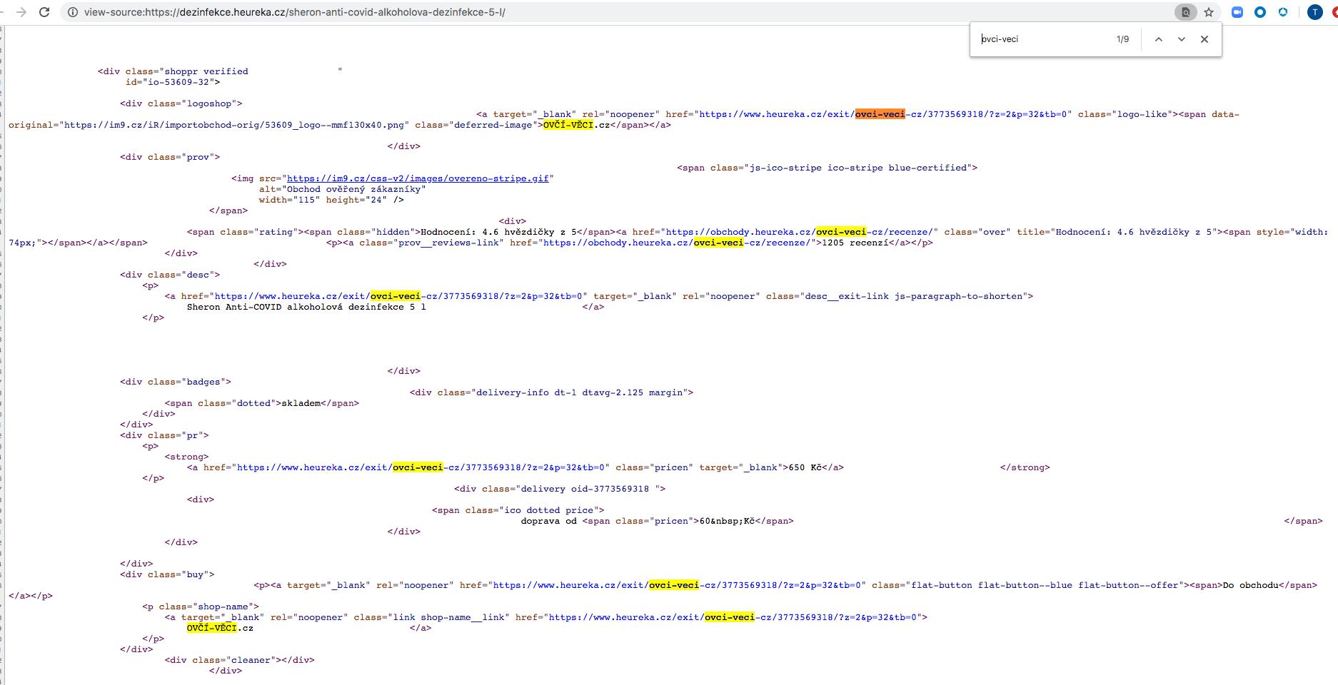 強調表示されている悪意のあるリンクを含むheureka[.]czのページのソースコード。
