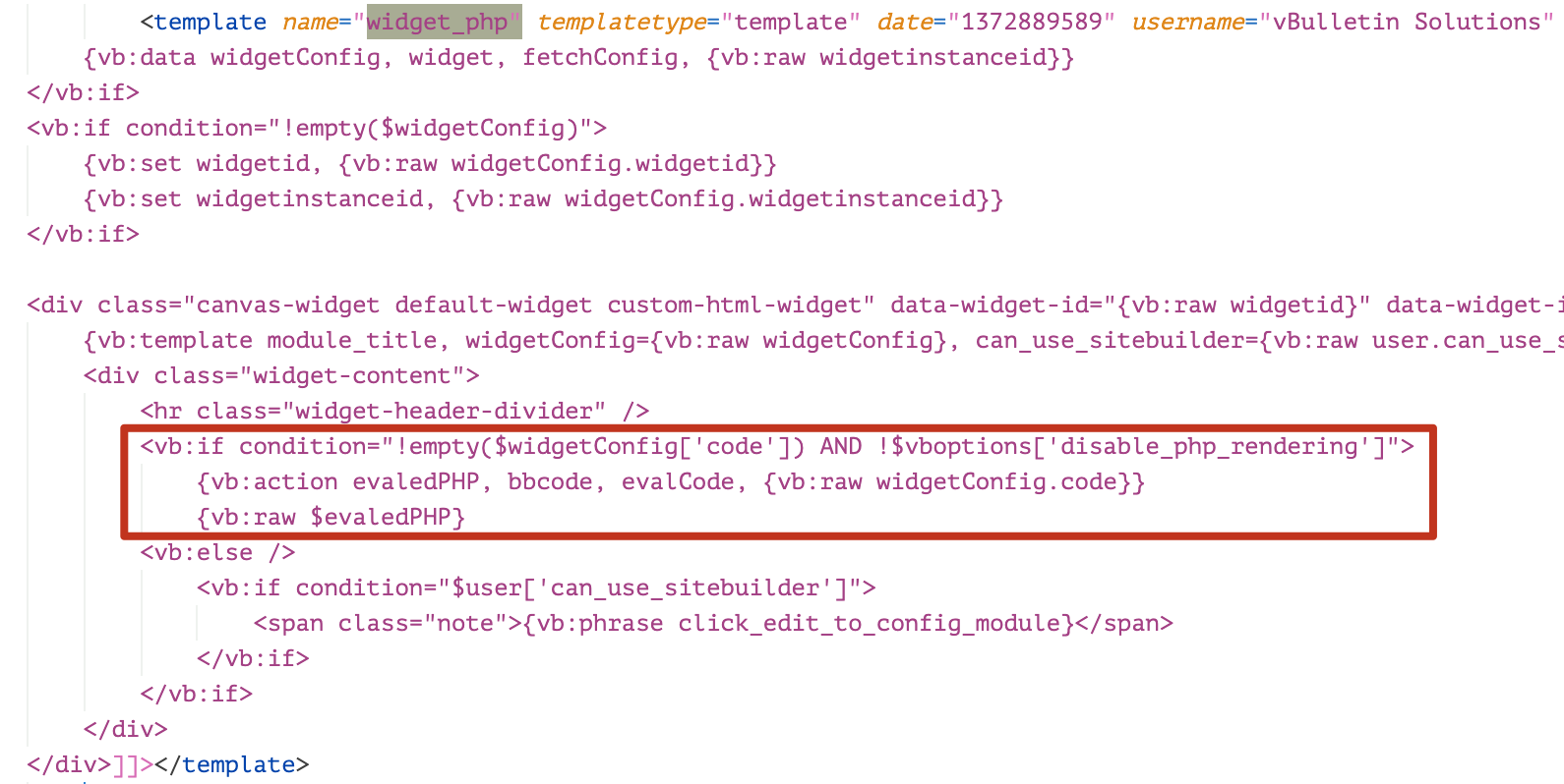 When an attacker manipulates an Ajax request that contains template name widget_php and malicious code placed in the parameter widgetConfig['code'], the render engine will convert the XML template widget_php to a string of PHP code.