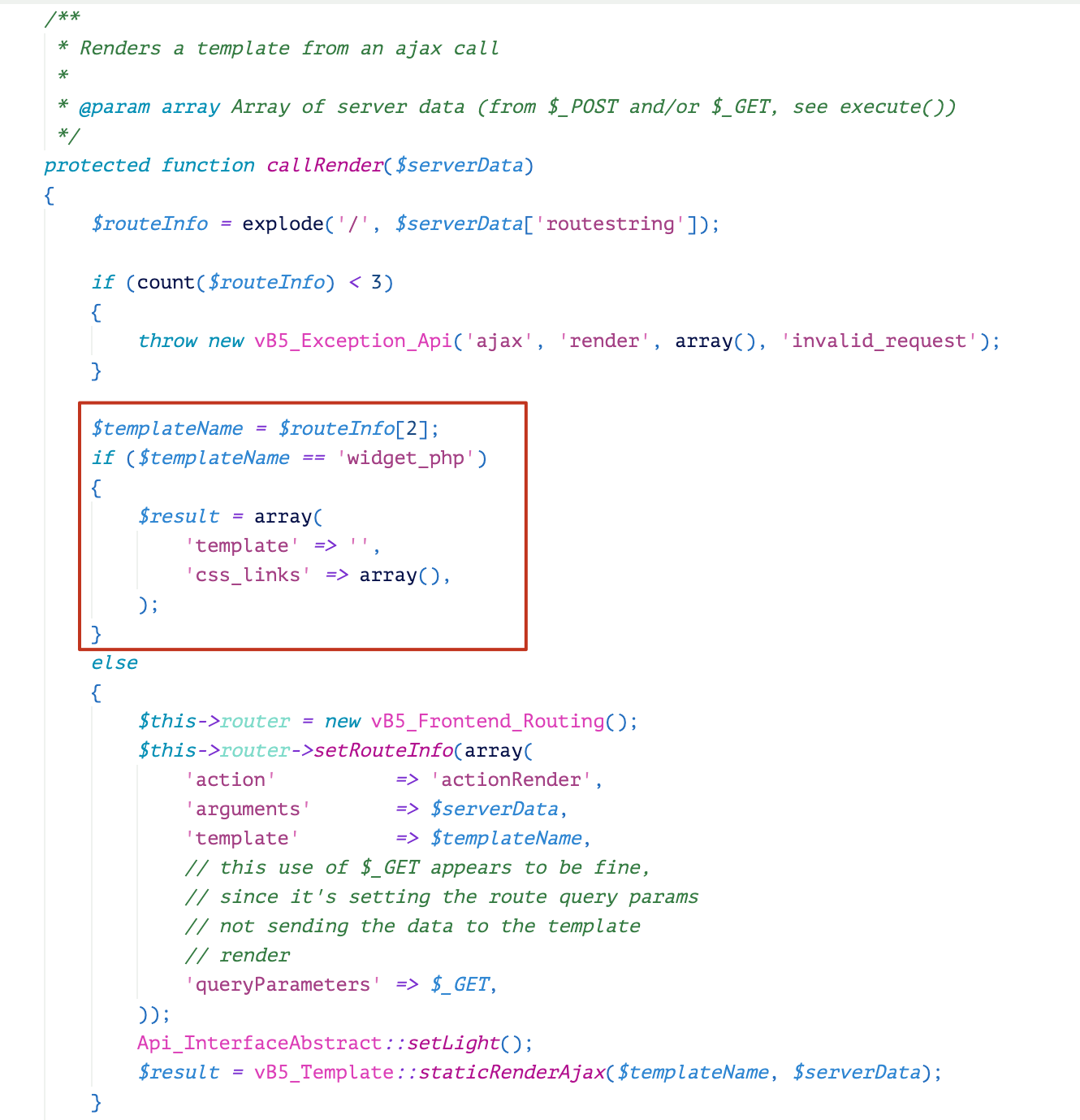 Beginning from version 5.5.5, a fix for CVE-2019-16759 was introduced into the function callRender() It uses a disallow-list mechanism to check the template name.