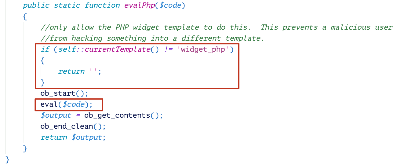 The code in the red box begins: if (self::currentTemplate() != 'widget_php') -- It demonstrates how the evalPhp function checks the current template name.