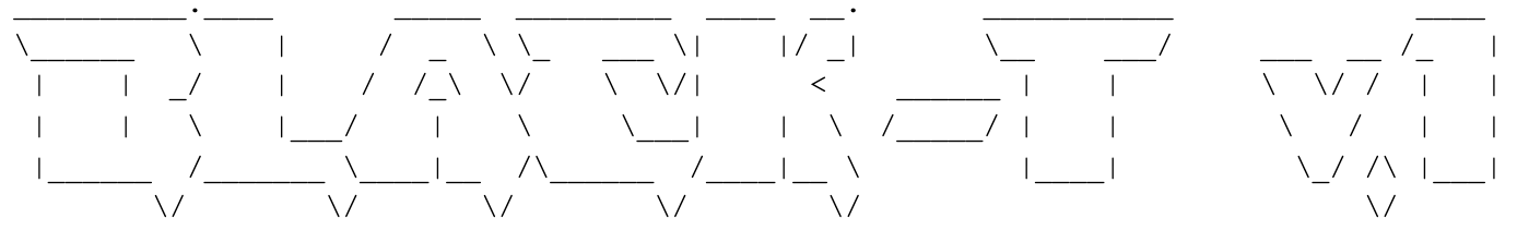 "Drawn in ASCII art, the banner displays: ""Black-T v.1"""