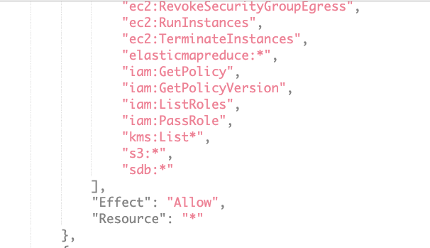 "The code shown reads: ""iam:GetPolicy"", ""Iam:GetPolicyVersion"", ""iam:ListRoles"", ""iam:PassRole"", ""kms:List*"", ""s3:*"", ""sdb:*""], ""Effect"": ""Allow"", ""Resource"": ""*"" ], -- this shows an unrestricted PassRole permission"