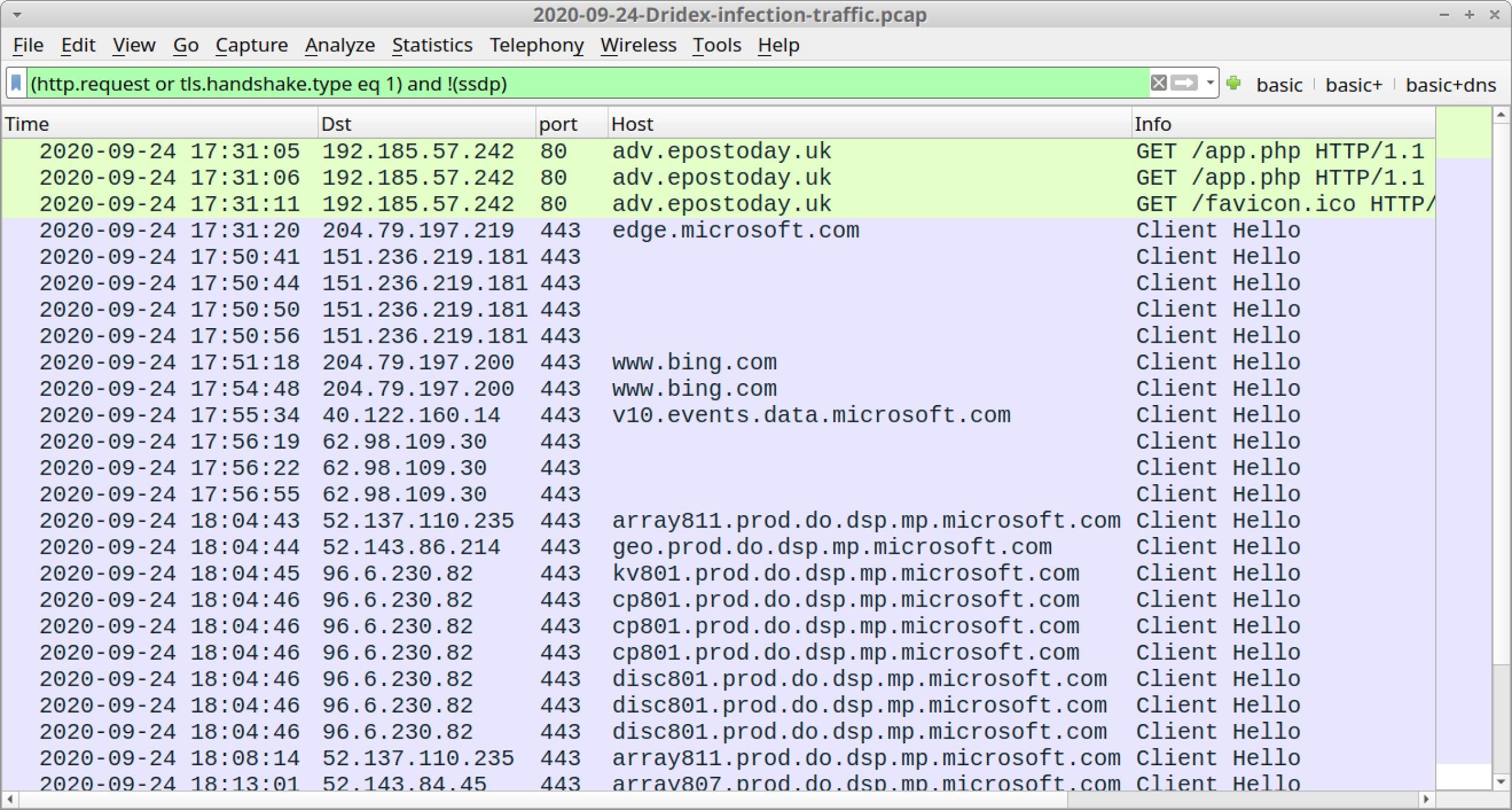 このスクリーンショットは、WiresharkでフィルタリングされたDridex感染トラフィックを示しています。画面には2020-09-24-Dridex-infection-traffic.pcapというラベルが付いています
