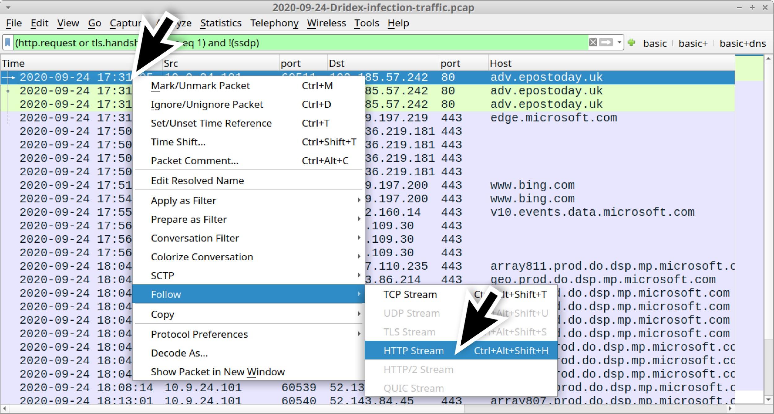 ここではTCPストリームではなくHTTPストリームの追跡をしてみましょう。スクリーンショットは、Wiresharkでそのオプションを見つける方法を示しています。