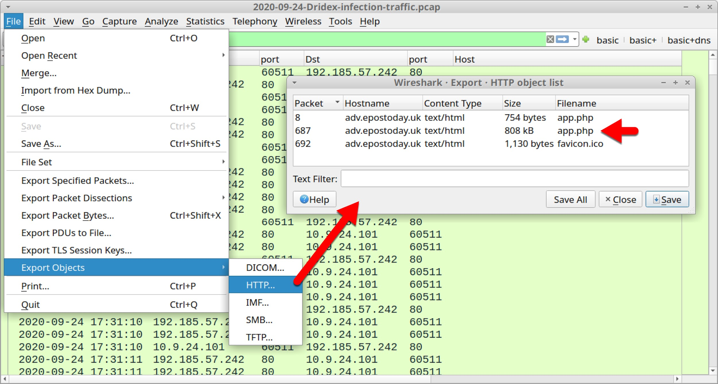 "Using the ""export HTTP objects"" function, it is possible to save the scripts returned from URLs ending in app.php. Red arrows indicate the options to select."