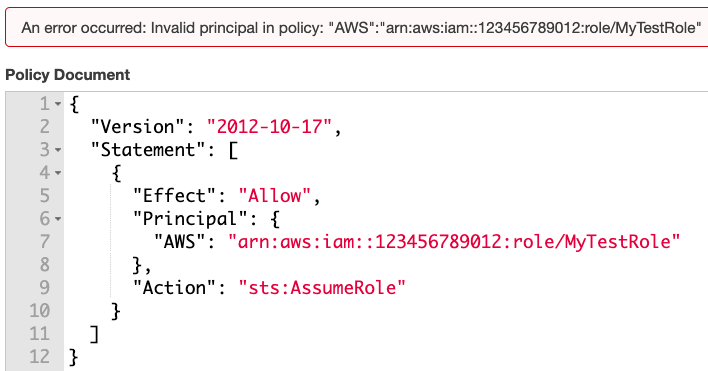 "This shows the code that could be used in an attempt to set the principal to a non-existent IAM role, as well as the resulting error message, ""Invalid principal in policy."""