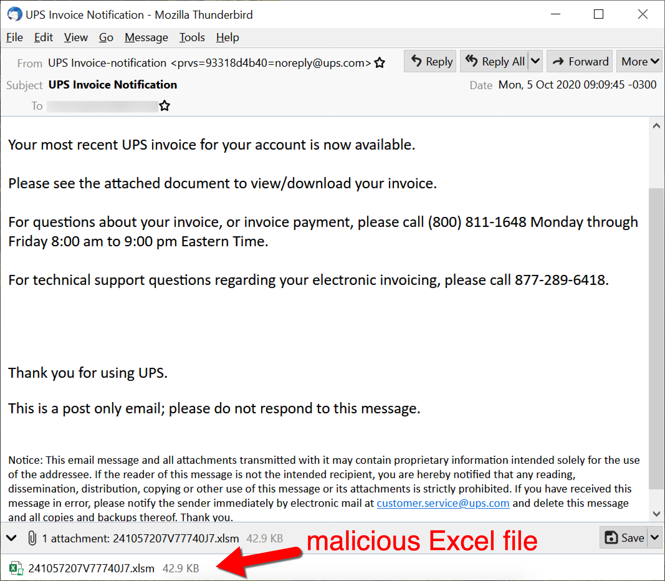 "An email pushing Dridex using an attached malicious Excel file. The subject line is ""UPS Invoice Notification."""