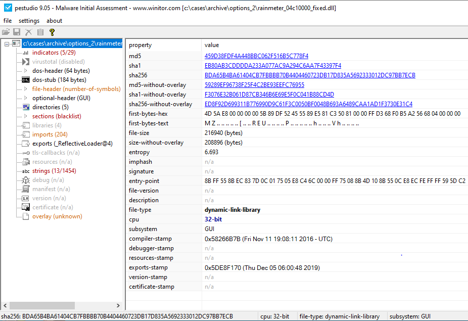 Loading the isolated PE into PeStudio showed these references to an exported function _ReflectiveLoader@4, which is a known exported function of Cobalt Strike.