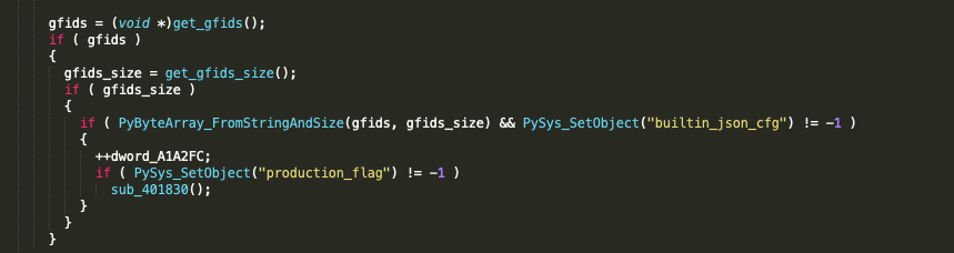 The variable sys.builtin_json_cfg is created with a call to PySys_SetObject and the compressed configuration blob is stored in it for later use by the final stage Python component.