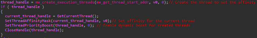 Defray777 focuses on creating and prioritizing threads for encryption by calling SetThreadAffinityMask and SetThreadPriorityBoost, as shown here.