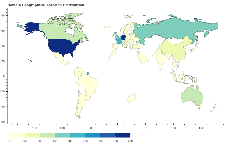 This heat map shows dark blue in the geographical locations of the highest concentrations of domains including HTML pages that were compromised by web skimmer malware. Geographical locations with fewer of these domains are represented in lighter colors, with pale yellow being the lightest.