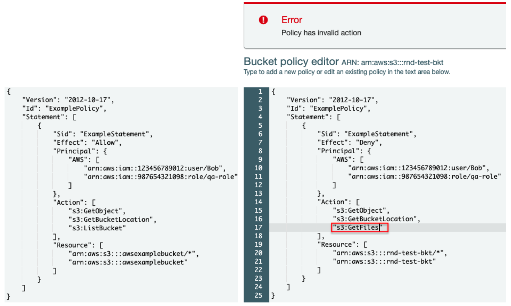 "This represents the simplest form of a resource-based policy. In this example, an error message is raised because ""GetFiles"" is not a supported action."