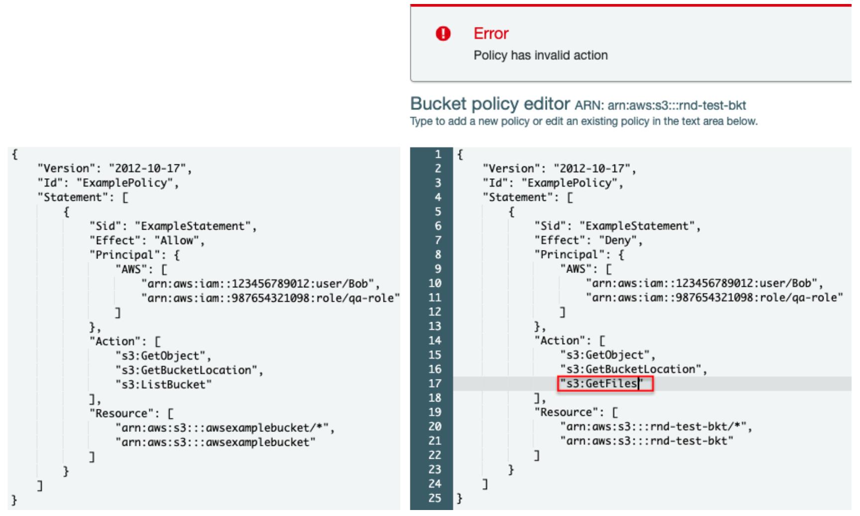 図 2. S3 バケットポリシー(左)とアクションに誤りがあるときのエラーメッセージ例(右)。