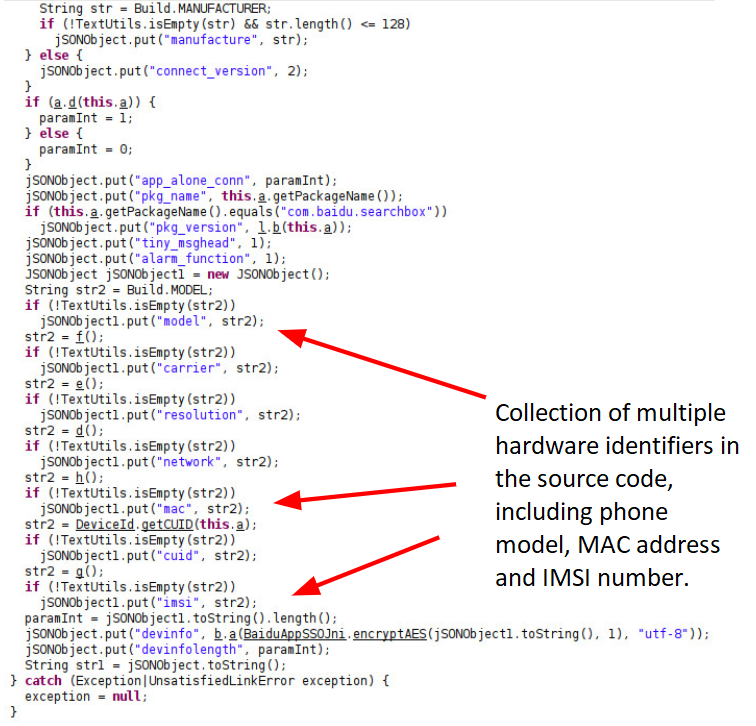 Collection of multiple hardware identifiers in reverse-engineered Android source code of Baidu Maps v10.24.8, including phone model, MAC address and IMSI number. We came to examine this code after our ML-based spyware detection system identified an example of data leakage that led to it.