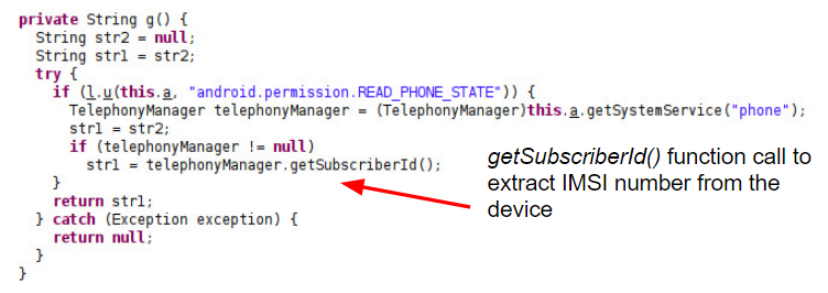 getSubscriberId() function call to extract IMSI number from the device.
