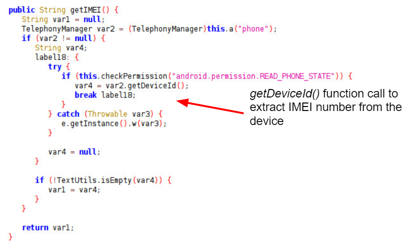 getDeviceId() function call to extract IMEI number from the device (indicated by the red arrow).