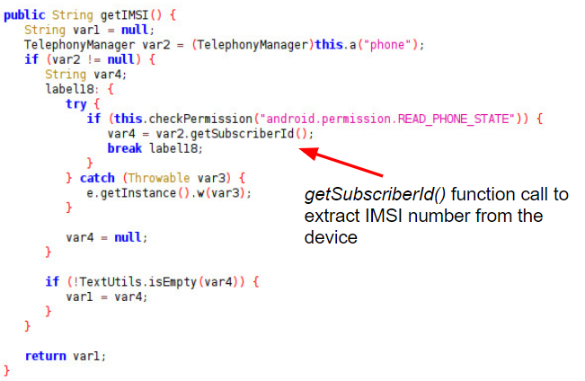 getSubscriberId() function call to extract IMSI number from the device (indicated by the red arrow).