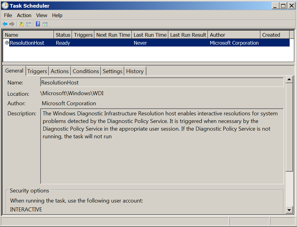 The screenshot shows the legitimate ResolutionHost task associated with the Windows Diagnostic Infrastructure Resolution host that is used to provide interactive troubleshooting for problems that arise on the system. We believe threat actors deliberately mimicked the name ResolutionHost in an attempt to blend in while installing their backdoors.