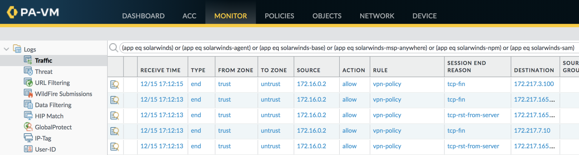 Example query filter to identify hosts contacting a server using the SolarWinds App-ID.