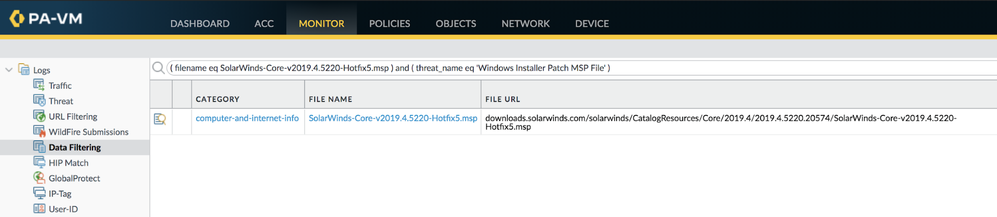 Example of how File Blocking will identify hosts that have downloaded the known filenames associated with the SUNBURST plug-in update.