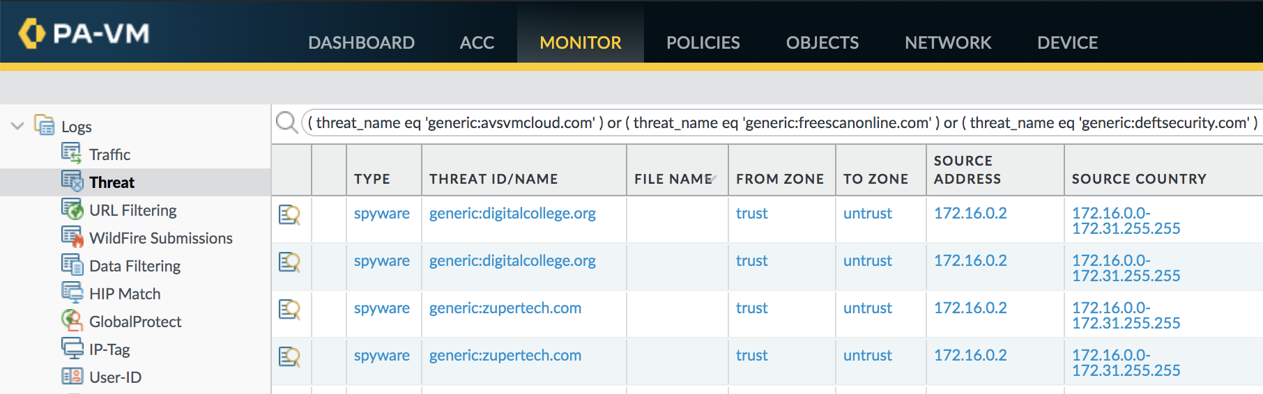 Threat logs can expose DNS queries that indicate SUNBURST command and control traffic.