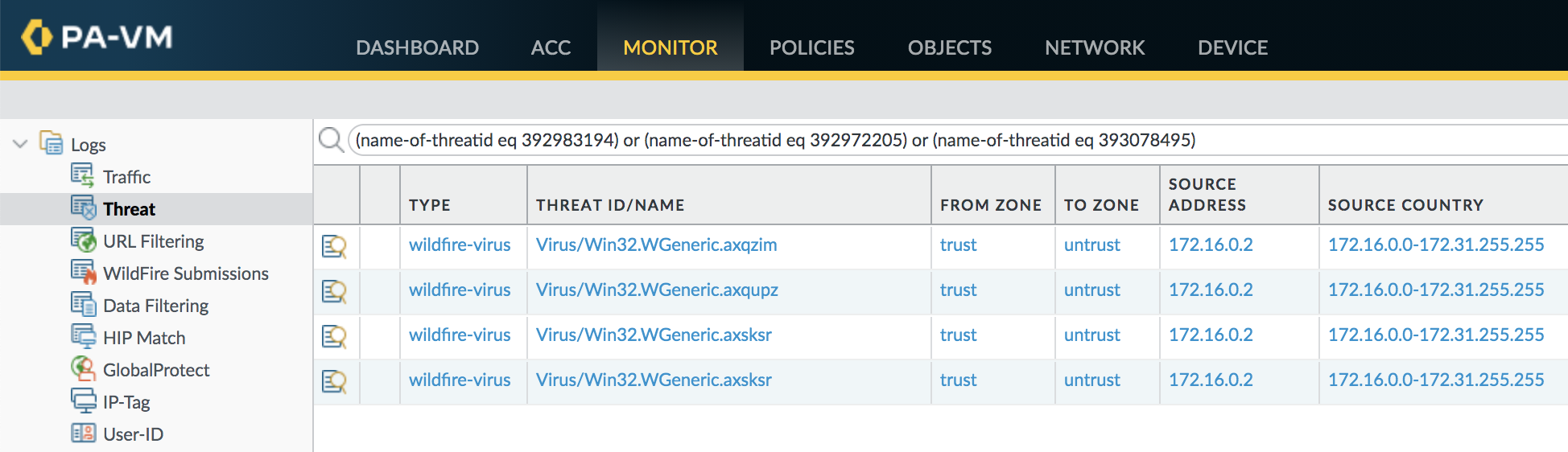 This example shows how WildFire and Threat Prevention can identify the specific threats associated with SUNBURST in the Threat log.