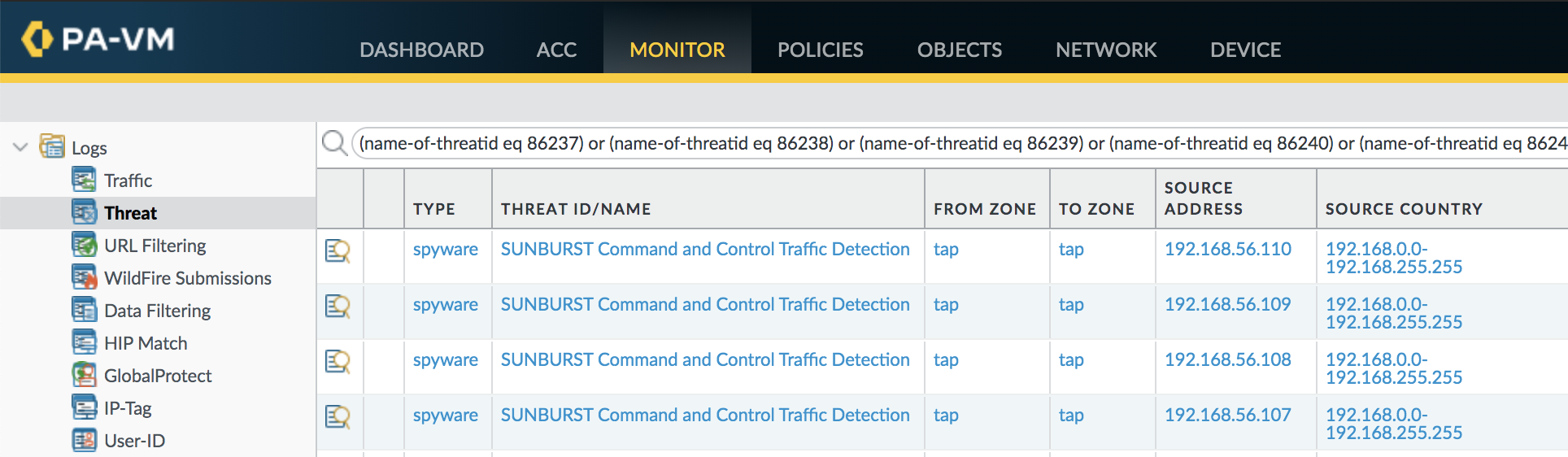 Threat Prevention can detect command and control traffic from SUNBURST as well as the Cobalt Strike Beacon used by SolarStorm.