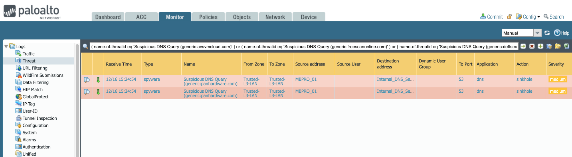 This example shows how to expose relative DNS queries signaling possible SolarStorm compromise.