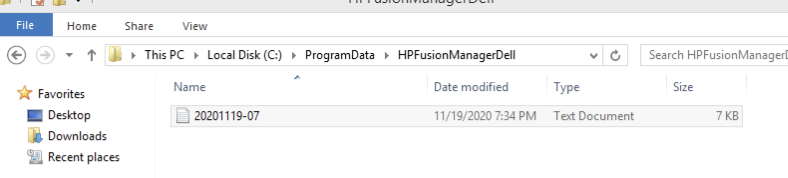 The keylogger drops information into the HPFusionManagerDell directory with the filename structure shown here.