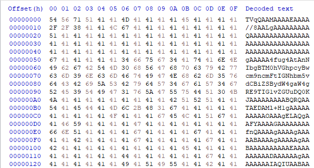 This shows reversed base64 strings and transformed base64 data collected as part of observing njRAT and tracking the relationship between the downloader component and its second-stage malware.