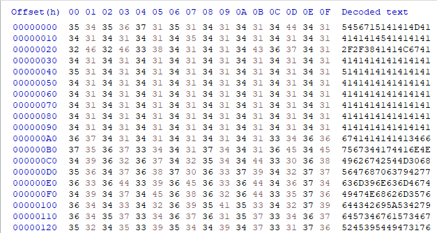 This shows hex encoded strings and hex decoded and encoded base64 data collected as part of observing njRAT and tracking the relationship between the downloader component and its second-stage malware.