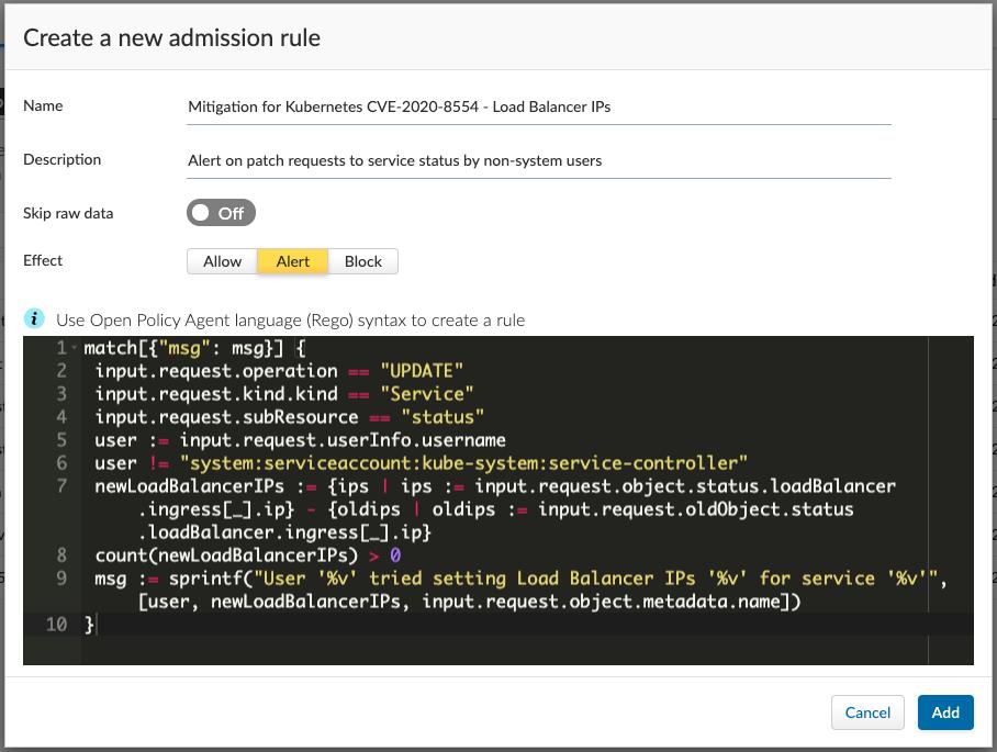 [Defend/Access/Admission]に移動し、[Import]をクリックして、ダウンロードしたルールテンプレートを選択します。このダイアログが表示されます。[Add] をクリックします。