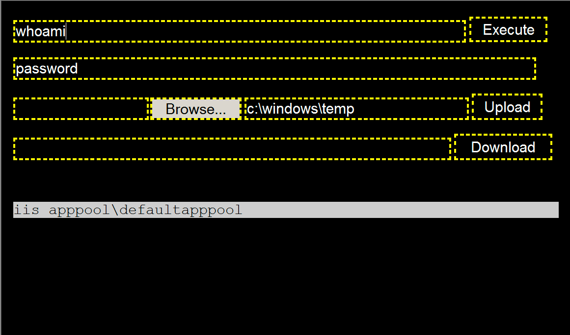 We gave the BumbleBee webshell its name because of the black, white and yellow color scheme shown here. This shows the interface an actor from the xHunt campaign would use to run commands on Microsoft Exchange Server.