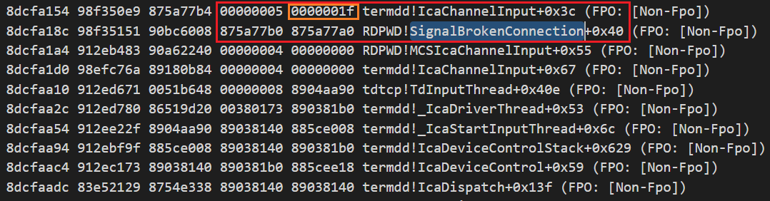 When the RDP client disconnects from the connection, the function RDPWD!SignalBrokenConnection is invoked, and then the function termdd!IcaChannelInput will be called to access the freed MS_T120 object in the slot 0x1f.