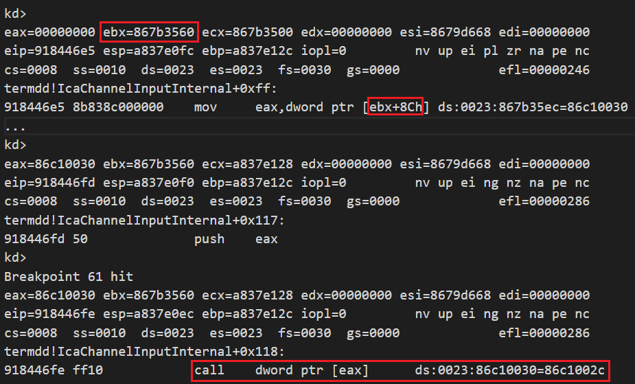 The debug log shown here shows how to get the fake object address at the offset 0x8c and make a function call (call [eax]) to control EIP.