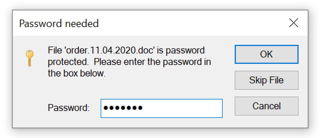 このスクリーンショットは、悪意のある電子メールにより提供されたパスワードを使用し、ZIPアーカイブを開いているユーザーを示しています。