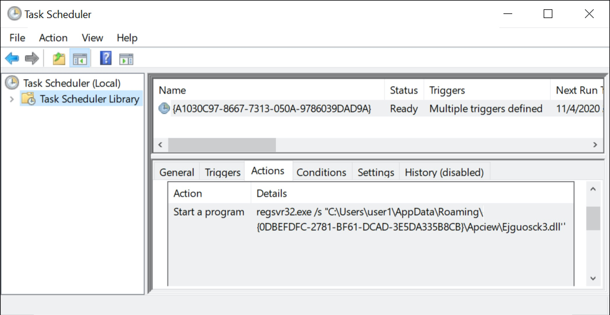 このスクリーンショットは、「複数のトリガーが定義された」スケジュールタスクを示しています。このタスクが感染Windowsホスト上でIcedID感染を維持します。