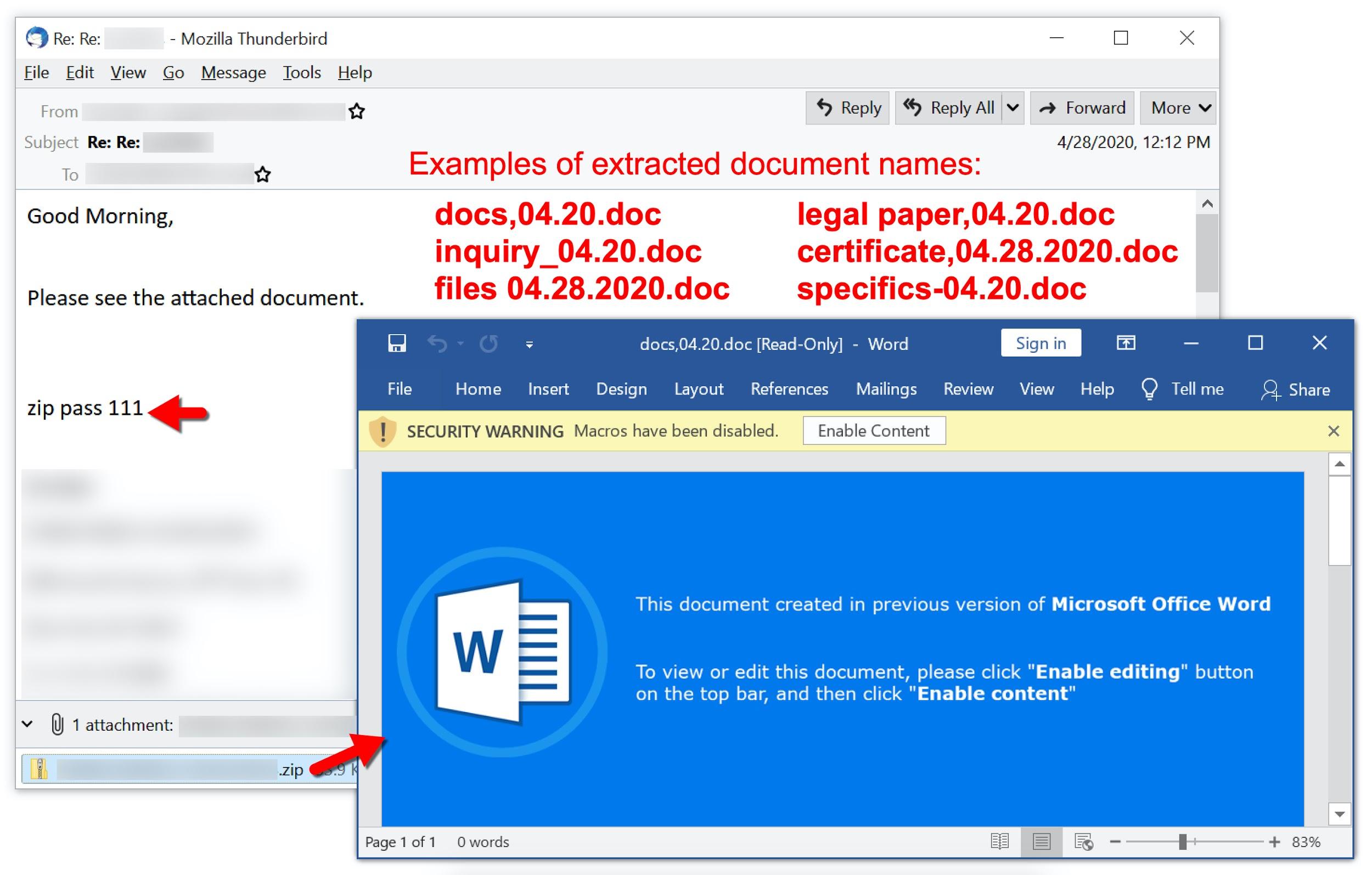 2020年4月のTA551マルスパムには、docs、04.20.doc、inquiry_04.20.doc、files 04.28.2020.doc、legal paper、04.20.doc、certificate、04.28.2020.doc、specifics-04.20.docなどのドキュメント名が含まれています。