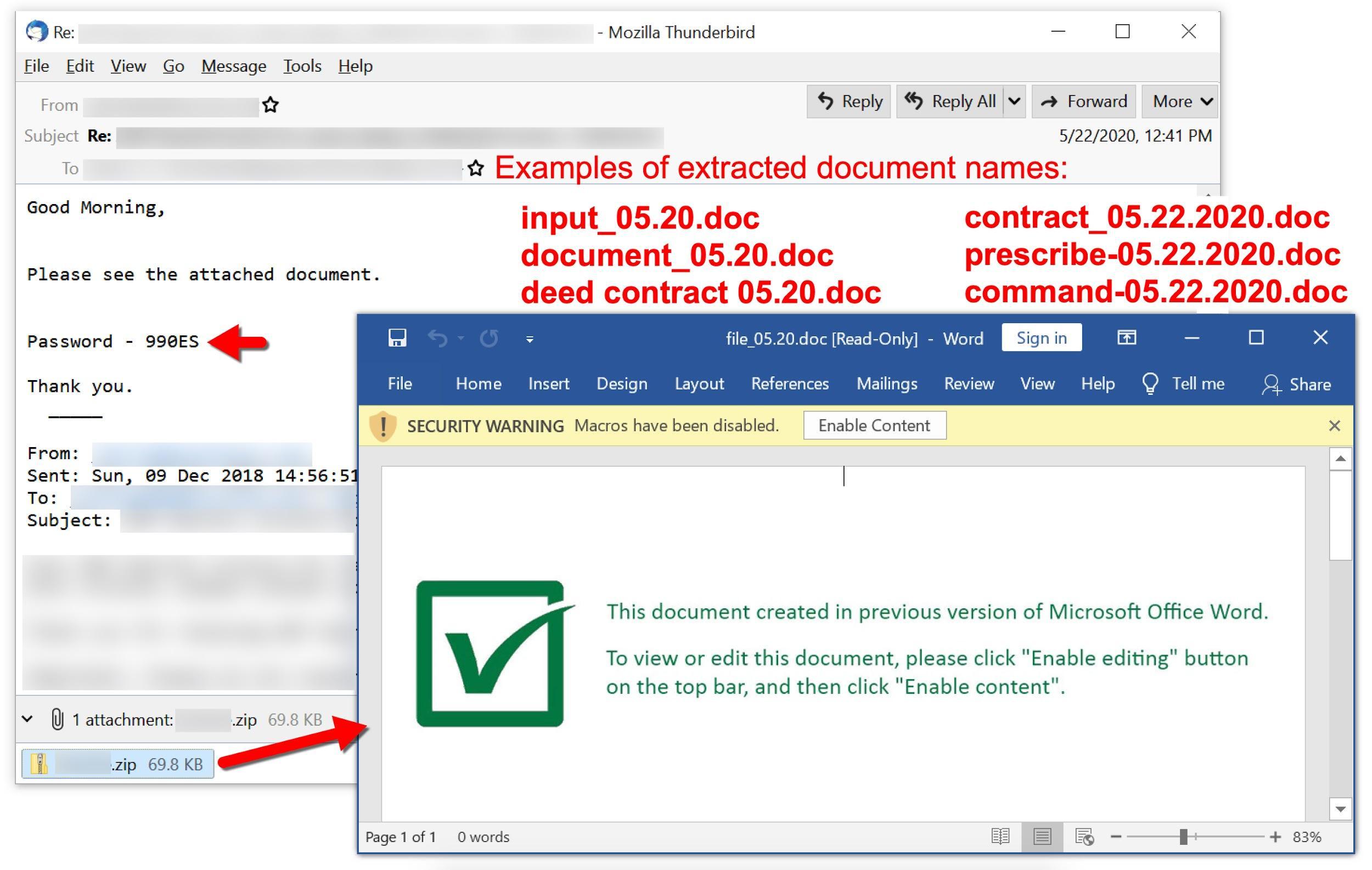 2020年5月のマルスパムには、input_05.20.doc、document_05.20.doc、deed Contract 05.20.doc、contract_05.22.2020.doc、prescribe-05.22.2020.doc、command-05.22.2020.docなどのドキュメント名が含まれています。